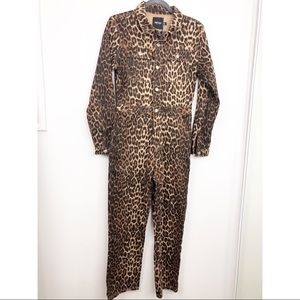 Nasty Gal Wild On Time Leopard Denim Jumpsuit NWT